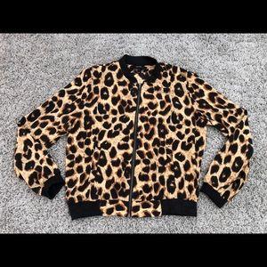 Forever21 Women's Leopard Print Bomber Jacket